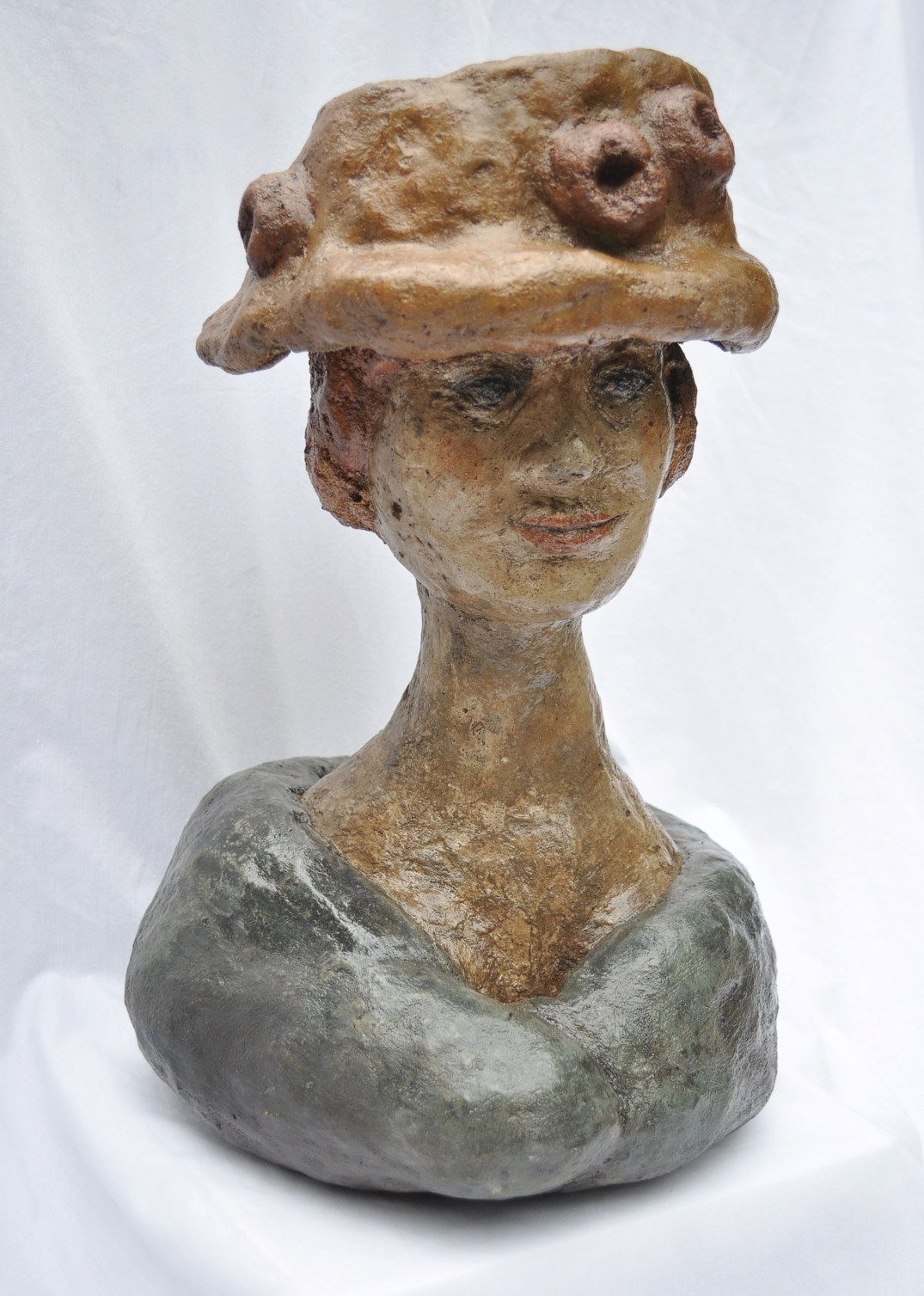 Sally on Sunday  - bust and flower pot hat made with concrete